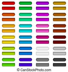 glas, knapper, i, adskillige, farver, sæt