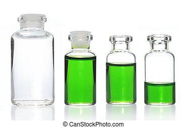 glas, kollektion, flaska