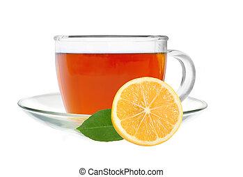 glas, kop, thee, met, citroenplak, vrijstaand, op, een, witte achtergrond