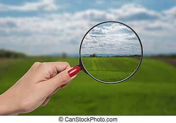 glas, korrigieren, vergrößern, vision, natur