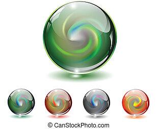 glas, kristall, vector., kugelförmig