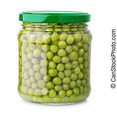 glas krukke, i, grønne peas