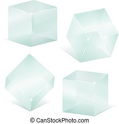 glas, kuben, transparent