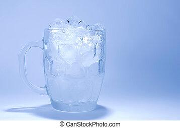 glas, kubus, ijs