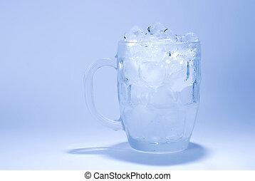glas, kubus, ijs, volle
