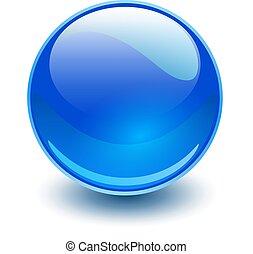 glas, kugelförmig, blaues