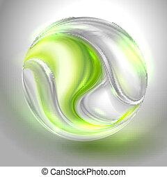 glas kula, med, grön, virvla runt
