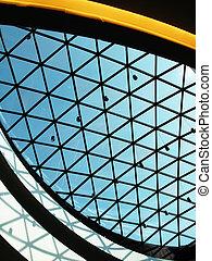 glas, kuppel, von, a, modernes geschäft, gebäude
