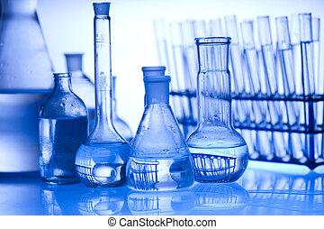 glas, laboratoriumsausrüstung, mit, whi