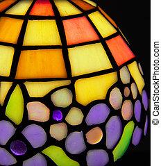 glas, lampe, farvet