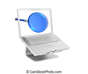 glas, laptop, vergrößern, 3d