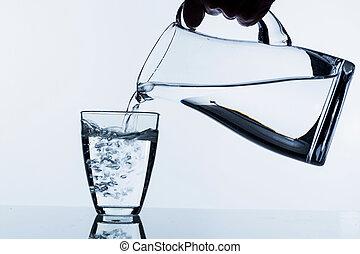 glas, med, vatten, och, kanna