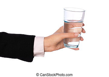 glas, med, vatten