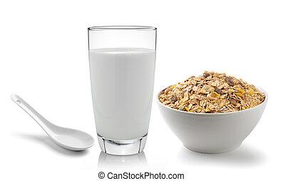 glas melk, geplaatste, bac, fris, muesli, witte , ontbijt