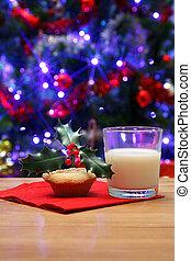glas, Milch, Hackfleisch,  santa, Torte