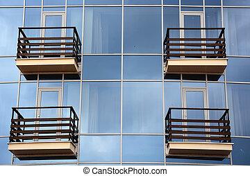 glas, och, balkong, bakgrund