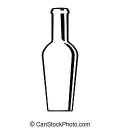 glas, ontwerp, fles, wijntje