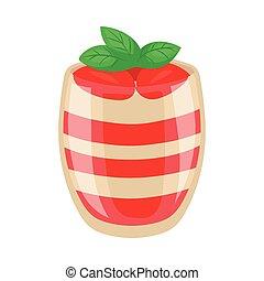 glas, parfait, glänsande, jordgubbe, efterrätt