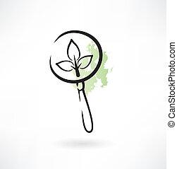 glas, pflanze, vergrößern, ikone