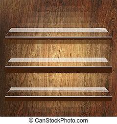 glas, planken, op, bruine , houten, achtergrond