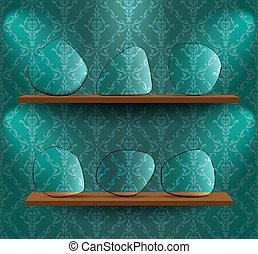 glas, platen, op, de, planken