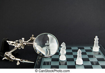 glas, rokerig, schaakspel