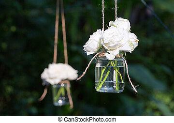 glas, rosen, weißes, blumenvase