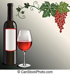 glas, rote flasche, wein