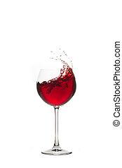 glas, rotwein, im