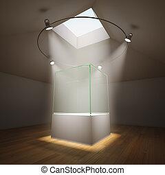glas, rum, tom, utställningsmonter