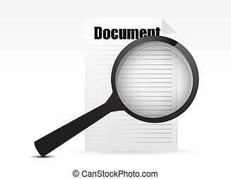 glas, søgen, dokument, -, forstørrer