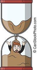 glas, sand, affär, timme, man
