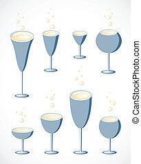 glas, set., vector, wijntje