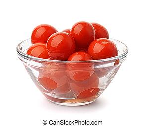 glas skål, pickled, tomater