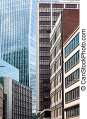 glas, skyskrapor, i staden, av, london