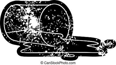 glas, spilt, grunge, tekening, pictogram