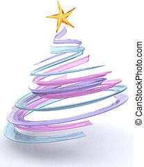 glas, spiraal, kerstboom