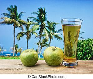 glas, strand, tafel, appelsap