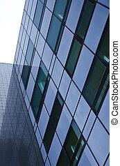 glas, surface., struktur, von, a, geschaeftswelt, gebäude.