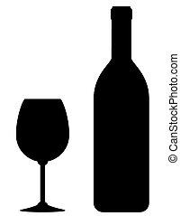 glas, svart, flaska, vin