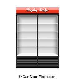 glas tür, textanzeige, kühlschrank