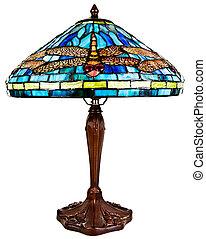 glas, tiffany, plettet, lampe, tabel