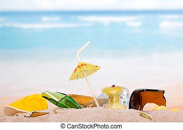 glas, trümmer, sandstrand, kaputte