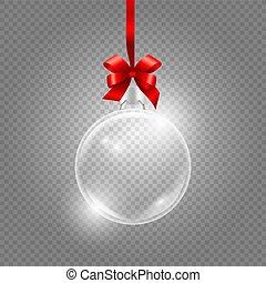 glas, transparant, achtergrond, globe, kerstmis, realistisch, vrijstaand, ribbon., vector, rode bal, zijde, toy.