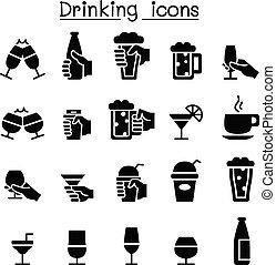 glas, trinken, satz, ikone, hand