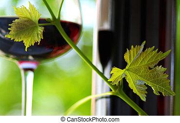 glas, und, flasche rotweins, .