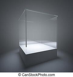 glas, upplyst, tom, utställningsmonter