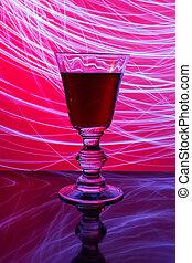 glas van de wijn, en, abstract, licht