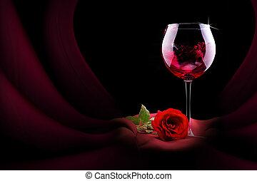 glas van de wijn, met, rode zijde, en, bloem
