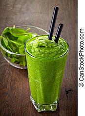 glas, van, groene, smoothie